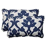 Pillow Perfect Indoor/Outdoor Bosco Corded Rectangular Throw Pillow, Navy, Set of 2