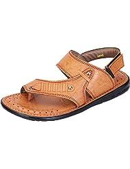 DATZZ Men's Tan Denim Sandals - B018U62PMG