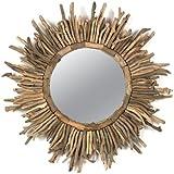 Creative Co-Op Round Driftwood Sun Burst Mirror