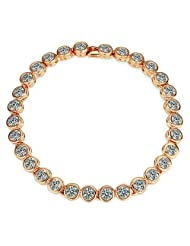 Yoursfs Brightly Fahion Simulated Diamond Jewelry 18k Rose Gold Plated Round Cut Crystal Bracelet
