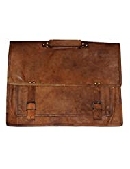 HLC-(Handmade Leather Craft) Real Leather Messenger Cross Body Satchel Brown Bag Briefcase VII