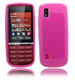 Nokia Asha 300 Ultra Slim / Thin Soft Rubber Gel Jelly Skin Back Case Cover Plus Screen Protector & Polishing Cloth (Hotpink)