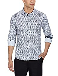 Punctuate Men's Casual Shirt (0666995112977_PNS161766_x-large_Black Paisley Ikat Print)