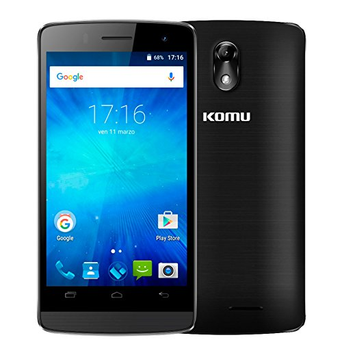 Komu Mini Plus Nero 1 GB di RAM e 8 GB di ROM 3G Dual SIM Display 4 Pollici batteria 1600 mAh doppia fotocamera 2mp + 8mp Android 5 Lollipop