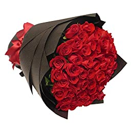 One Dozen (12) Romantic Farm Fresh Red Roses Bouquet By JustFreshRoses | Long Stem Fresh Red Rose Delivery | Buy One Get One FREE