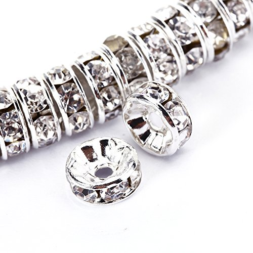 BRCbeads 10mm Silver Plated Crystal Rondelle Spacer Beads 100pcs per bag for jewelery making(#001 Clear Crystal) (Crystal Beads 10mm compare prices)
