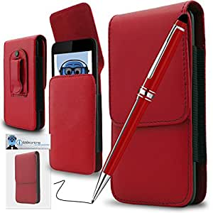 Red PREMIUM PU Leather Vertical Executive Side Pouch Case Cover Holster with Belt Loop Clip and PRO Captive Touch Tip Stylus Pen with Rubber Tip with Roller Ball Pen For Motorola Admiral XT603