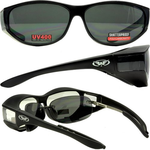 Global Vision Escort Fit Over Glasses Sunglasses with Smoked Lenses Has Matching Side Lens Meets ANSI Z87.1-2003 Standards for Safety Eyewear