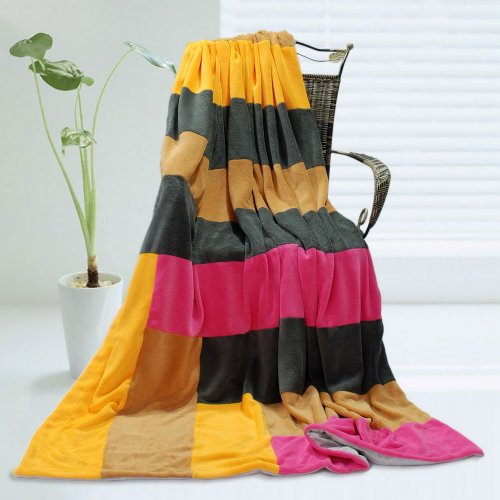 Onitiva - [Sweet Life] Soft Coral Fleece Patchwork Throw Blanket (59 By 78.7 Inches) front-317112