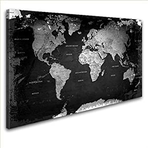LanaKKWeltkarte Retro SWedel Leinwand Bild Kunstdruck auf Keilrahmen, fertig gerahmt in 100 x 70 cm, 1teilig    Kundenbewertung und weitere Informationen