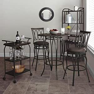Better Homes and Gardens Decorative Classic Design Furniture Mixed Material Pub Restaurant Table, Mahogany Wood Finish, Hammered Bronze Metal Finish from Better Homes and Gardens