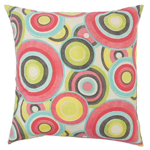 The Pillow Collection P18-WAV-677992-ROLLPLAY-BLOSSOM-C100 Huey Geometric Pillow, Blossom