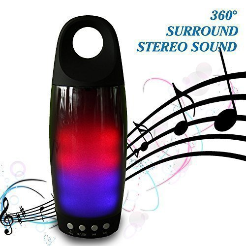 Bluetooth Speaker, Powerful Sound Wireless Portable Speaker with Radio function, USB and TF card port, Works for Ipad, Iphone, Samsung, Huawei and Other Music Players, Black