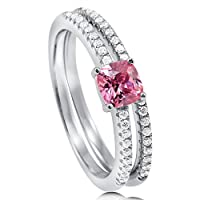 BERRICLE Sterling Silver 0.66 Carat Pink Cubic Zirconia CZ Solitaire Womens Wedding Bridal Ring Set by BERRICLE