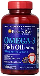 Puritan's Pride Nutritional Softgels, Omega-3 Fish Oil, 1200 mg, 100 Count