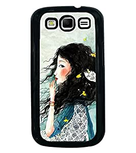 Fuson Premium 2D Back Case Cover Cute hairy girl With Purple Background Degined For Samsung Galaxy S3 Neo::Samsung Galaxy S3 Neo i9300i