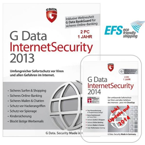 G Data InternetSecurity 2013 - 2 PCs inkl. Update 2014 EFS Vollversion