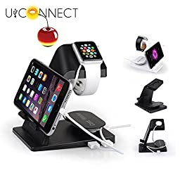 Best Selling Apple Watch Charging Stand by U-Connect with Double USB Interface. 2 in 1 Holder for IPhone,IPad and IWatch. This Dock is Compatible with 38Mm and 42Mm (White)