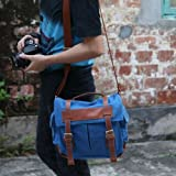 MECO Vintage Canvas Camera DSLR Shoulder Messenger Bag Case for Canon Nikon Sony (Blue)