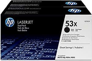 HP 53X (Q7553XD) Black High Yield Original LaserJet Toner Cartridges, 2 pack