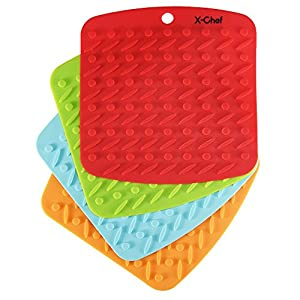 Silicone Pot Holder, X-Chef Pot Holders Silicone Kitchen Mat set of 4 for Baking Cooking Oven