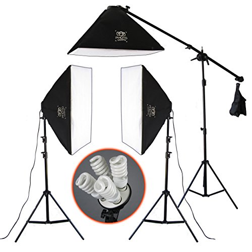 PhotoGeeks SBK3 Continuous Lighting Photography Kit / 3 x 70 x 50cm Softboxes / 12 x 45w Fluorescent 5500k Light Bulbs / 3 Light Stands / Includes Boom Arm