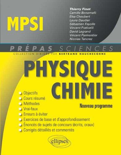 Physique chimie MPSI : nouveau programme francais