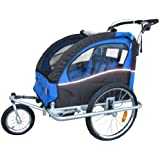 """Booyah """"Swivel"""" 3in1 Double Baby Bicycle Bike Trailer & Jogger Blue"""