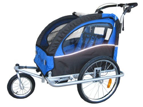 """Booyah """"Swivel"""" 3In1 Double Baby Bicycle Bike Trailer & Jogger Blue front-934792"""
