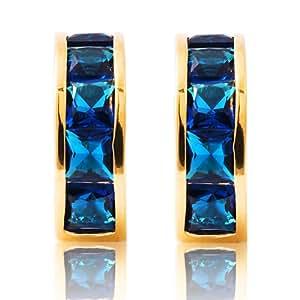 Lady jewelry gift Nib Blue Sapphire Yellow Gold Plated Earings Hoop Earrings