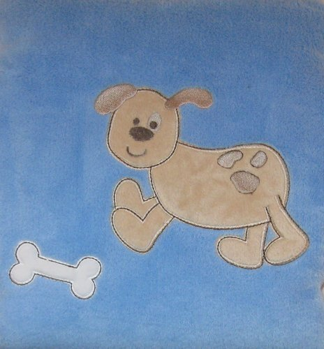 Blue Plush Baby Blanket with Tan Puppy Dog and Bone - 1