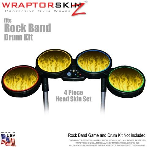 Fire Yellow Skin by WraptorSkinz fits Rock Band Drum Set for Nintendo Wii, XBOX 360, PS2 & PS3 (DRUMS NOT INCLUDED)