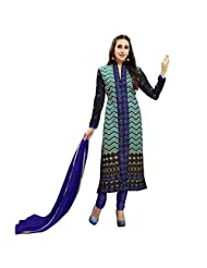 Green And Blue Chanderi Cotton Designer Party Wear Salwar Suit