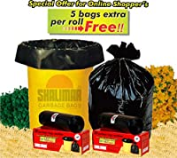 Shalimar Virgin Garbage Bags (Medium) Size 48 cm x 56 cm 6 Rolls (180+30 BAGS FREE) (Trash Bag/ Dustbin Bag)
