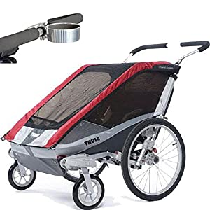 Thule Chariot Cougar 2 Child Carrier with Strolling Kit and Cup Holder - Red
