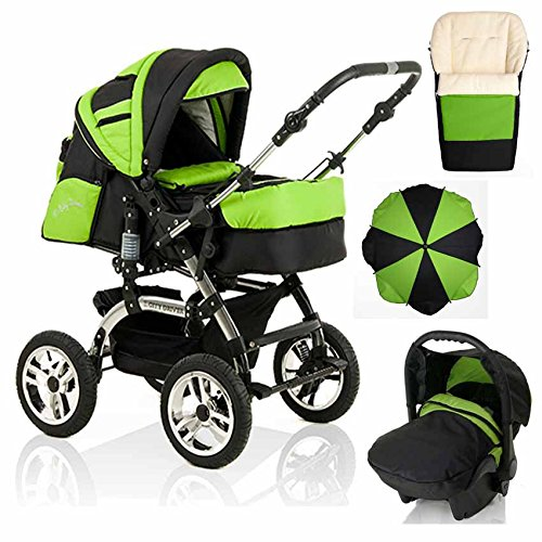 18-teiliges-Qualitts-Kinderwagenset-5-in-1-CITY-DRIVER-Kinderwagen-Buggy-Autokindersitz-Schirm-Winter-Fussack-Megaset-all-inclusive-Paket-in-Farbe-SCHWARZ-GRN