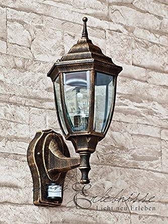 edle led energiespar au enwandleuchte 6 watt in antik mit bewegungsmelder wandlampe hoflampe. Black Bedroom Furniture Sets. Home Design Ideas
