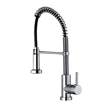 Whitehaus WH2070079-C Jem Collection Commercial Kitchen Faucet with Flexible Spout - Polished Chrome