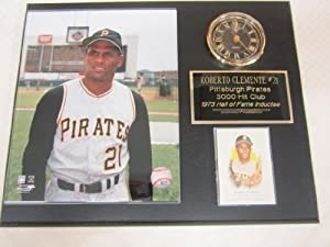 Roberto Clemente Pittsburgh Pirates Collectors Clock Plaque w 8x10 Photo and Card by J & C Baseball Clubhouse