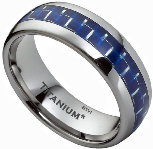 Titanium Ring - Blue Carbon Inlay Mens Titanium Wedding Engagement Band Ring- Size Z - Comes In A Luxury Gift Box - ( Available In Most Sizes)