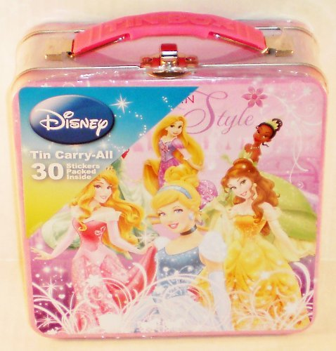 Disney Princess Sticker Box Tin Carry-All with 30 Stickers - 1