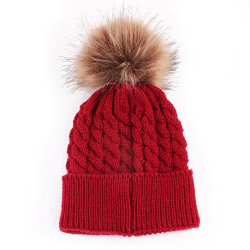 Datework Cute Winter Baby Knitted Wool Hemming Hat (Red)