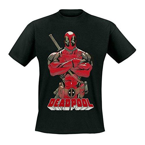 Deadpool - Pose T-Shirt - Maglietta con licenza ufficiale della Marvel - Motivo fumetto, grande stampa frontale - Girocollo - Nero - L