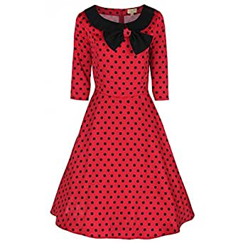 Lindy Bop 'Cassy' : Vintage 1950's Chic Robe Manche 3/4 (36, Rouge)