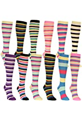 Women's Colorful Striped Knee High Socks 12 Pack