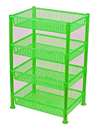 NOVICZ 4 Layer Kitchen Rack Stand Fruits Vegetable Rack Storage Household Office Rack Storage Stand -Green
