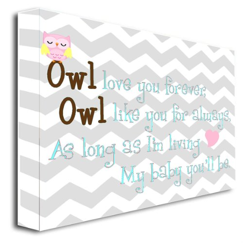 Framed Canvas Print Owl Love You Forever, Owl Love You For Always, As Long As I'M Living My Baby You'Ll Be (22'Width X 16'' Height) Cute Wall Art front-381681