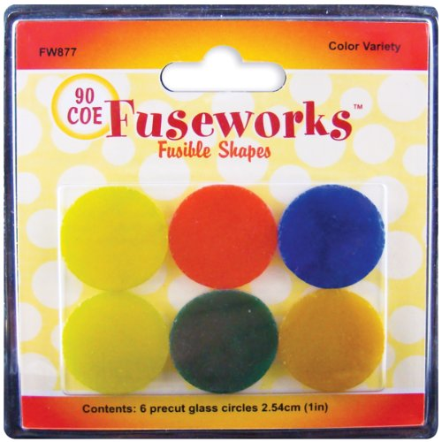 Fuseworks Variety Color Fusible Glass Shapes, 1-Inch Round Disks, Assorted Colors, 6-Pack