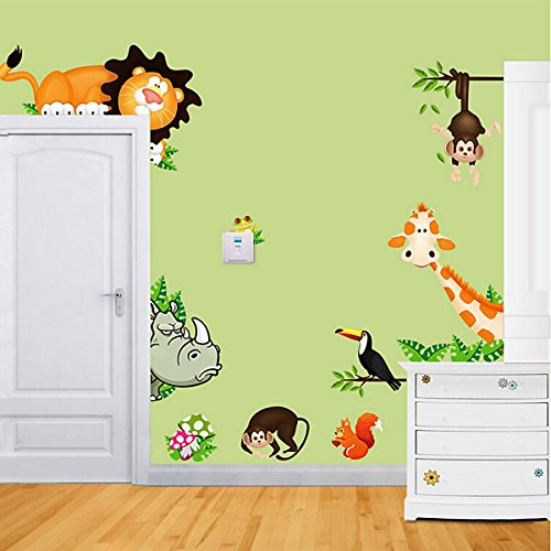Luxury  Joygo DIY Removable Wall Decal Giraffe Monkey Lion