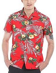 Zobello Men's Hawain Print Camp Shirt (11086B_Red Hawaiian Print_Large)
